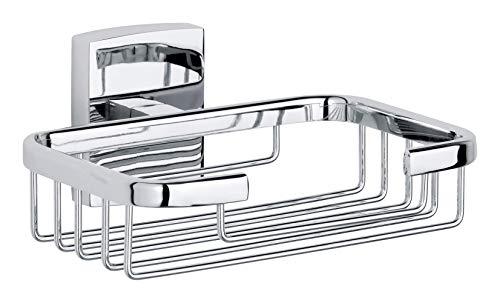 Tesa klaam Seifenhalter (für die Dusche, inkl. Klebelösung, verchromt, rostfrei, 60mm x 135mm x 117mm)