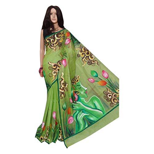 Village Bengal 158a - Pintura de seda a mano de sari y tussar, color verde
