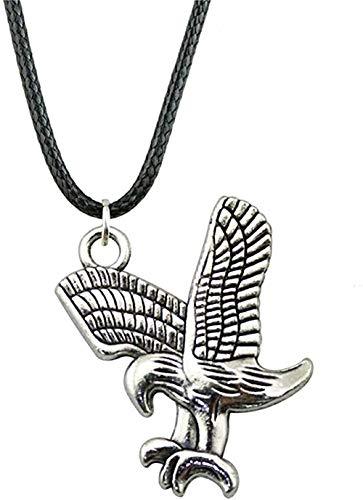 banbeitaotao Collar 31X27Mm Collar con Colgante de águila para Mujer Collar de Cadena de Cuero 2 Colores Bronce Antiguo Color Plata Antigua