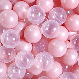 PlayMaty Ball Pit Balls -Phthalate Free BPA Free Plastic Crush Proof Stress Balls for Kids Playhouse Pool Ball Pit Accessories Pack of 50 (Pearl Pink and Transparent)