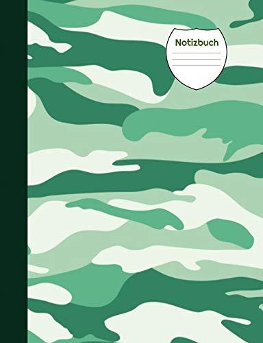 Notizbuch: Camouflage grün, Blanko Notizheft, Notizenbuch liniert