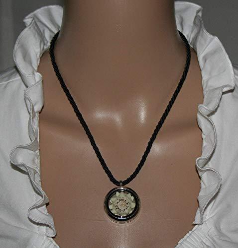 Halskette mit Edelweiß Medaillon Kordelkette gezüchtetes Edelweiß Geschenk