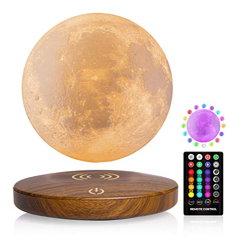 Magnetic Levitating Moon Lamp, FIRPOW 16 Colors Floating and Spinning in Air Freely and 3D Printing LED Moon Light,Brightness Adjustable,Timing Setting,for Unique Gifts,Room Decor,Night Light - 6 Inch