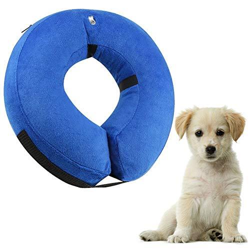 Berg Store Aufblasbarer Halskragen für Haustier Hund Katze Bequemer Schutzkragen Halskrause Recovery Collar mit Verstellbare Reißverschluss für Haustier M- Blau