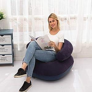 Luoshan En Forma de U Inflable se reunió Casual Lazy Couch Plegable reclinable Base Sofá (Rojo) (Color : Blue)