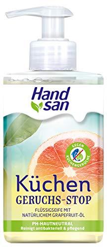 Handsan Flüssigseife Geruchsstopp 1 x 300 ml, Spender 300 ml, wirksame Küchenseife gegen typische, unangenehme Gerüche (z.B. Knoblauch, Fisch), mit natürlichem Grapefruit-Öl, im 1er Pack (1 x 300 ml)