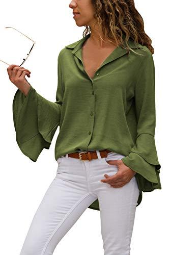 Aleumdr Bluse Damen Langarm v Ausschnitt Casual gestreift Hemd Oberteile lose Lange Ärmel vorne kurz hinten Farbverlauf Sommer S-XXL (Grün, XL)
