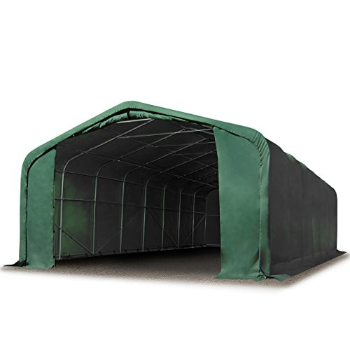 TOOLPORT Standsichere Lagerhalle/Lagerzelt 6 x 12 m feuersichere ca. 720 g/m² PVC Plane Weidezelt dunkelgrün