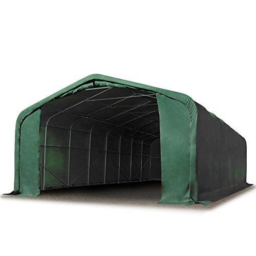 TOOLPORT Standsichere Lagerhalle/Lagerzelt 6 x 12 m feuersichere 720 g/m² PVC Plane Weidezelt dunkelgrün