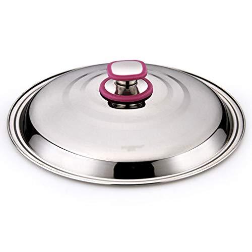 Xu Yuan Jia-Shop Topfdeckel Wok-Abdeckung Edelstahl runden Topfdeckel Wok Pan Iron Pot Deckel mit violettem Rand Stahlkappe Deckel Durchmesser 30 cm Universaldeckel (Größe : 34cm)