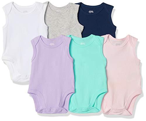 Amazon Essentials Baby Girls 6-Pack Sleeveless Bodysuits, Solid Pink, Purple & Aqua, 12M
