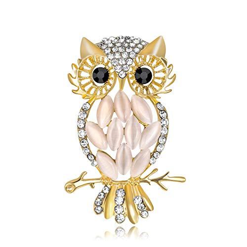 AILUOR Damen Netter Schwarz Augen Eule Brosche, Elegante Weinleserhinestone-Kristall-Perlen Emaille-Goldtier Ehrennadel Corsage weiß Einstellbar