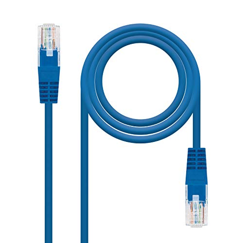 NANOCABLE 10.20.0105-BL - Cable de Red Ethernet RJ45 Cat.5e UTP AWG24, Azul, latiguillo de 5mts