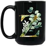Lawenp Tazza con monogramma personalizzato, tazza da caffè con lettera U grafica U, lettera dell'alfabeto monogramma U, luccichio dorato Qualsiasi lettera con alfabeto floreale tazza da caffè per il