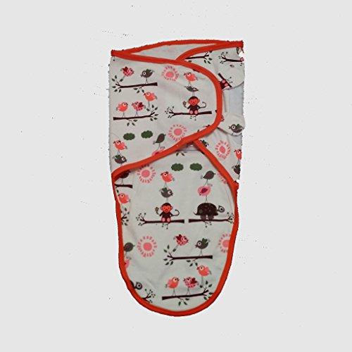 Cobertor de envolver banana para bebês, de pequeno a médio, 3,2 a 6,3 kg. Conjunto de envolver bebê ajustável de algodão macio, pequeno a médio, árvore da Amazon + design de pássaros