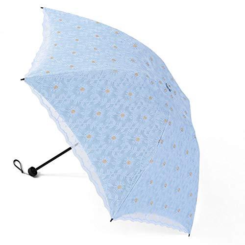 JRP Sonnenschirm,Prinzessin Spitze Sonnencreme UV-Schutz Falten Sonniger Regenschirm Ultraleicht/Blau / 66 * 90CM