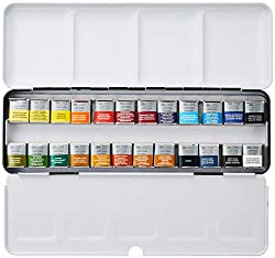 Honorable Mention for Best Watercolor Kit: Winsor & Newton Professional 24 Half Pans Watercolour Box Set