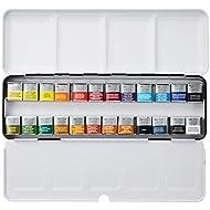 Winsor & Newton : Professional Watercolour : Lightweight Metal Sketchers Box Set : 24 Half Pans (24 Colors Set)