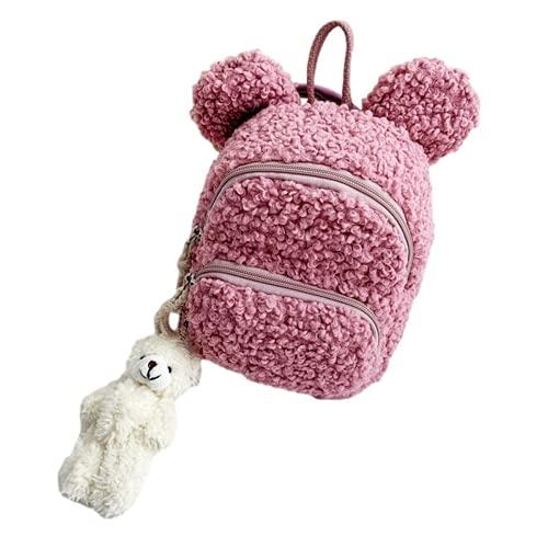 Mochila para niños pequeños lindas orejas de conejo mochila escolar de jardín de infantes mochila cálida de invierno para niños y niñas bolsa de viaje al aire libre (Purple,19 * 19 * 13CN)
