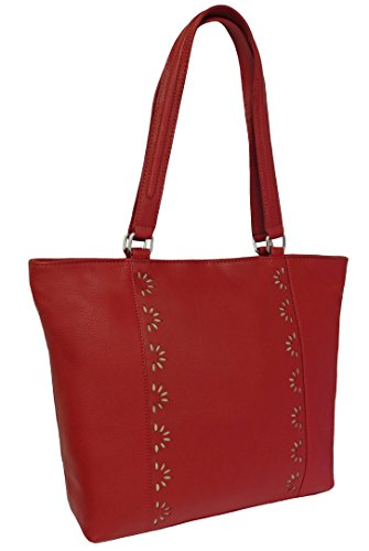 Damen Leder Tasche, Umhängetasche Leder, Damentasche, Ledertasche, Schultertasche Leder, Handtasche, Damen Handtasche, Shopping-Tasche, Echtleder - Rot