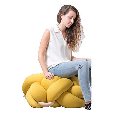XER Marroquí Grande Puffe Pouffe Footstool Chunky Hand Pouf Pouf Pie Taburete Taburete de Estar Moderno Asiento de cojín por Confort Colecciones,Amarillo