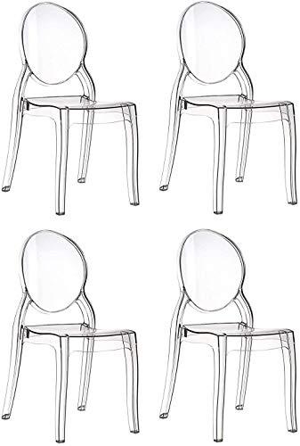 EGLEMTEK - Juego de 4 sillas de diseño de policarbonato Transparente y Cristal Claro