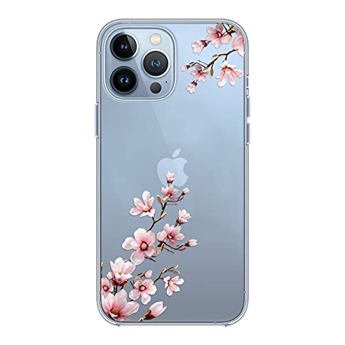Kristallklar Handyhülle Kompatibel mit iPhone 13 Pro Hülle, Schlank Weich Flexibel Dünne Klar Silikon Hülle, Cover Transparent mit Motiv Blumen Schützt vor Stößen Hülle 6,1 Zoll - Pfirsichblüte
