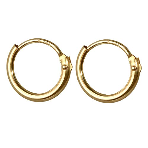 NKlaus SET 2x 585 echt GOLD Einzel HERREN Klapp Creole Ohrring Ohrhänger 9,0mm 40221