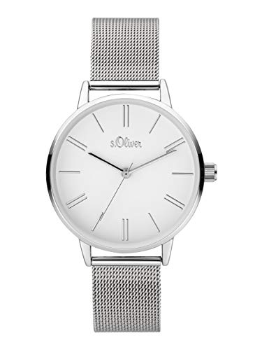 s.Oliver Damen Analoger Quarz Uhr mit Edelstahl Armband SO-3892-MQ, Silber