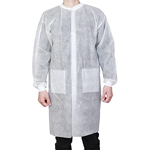 Lab Coats Disposable with Pockets for Adult White Easy Breathe Cool and Latex-free Durable with Knitted Cuffs and Collar 10 Pack (X-Large)