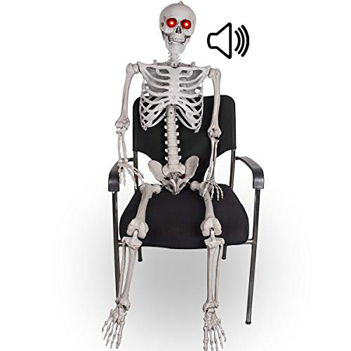 5.5FT Halloween Posable Skeleton - Realistic Life Size Pose-n-stay Human Skeleton with LED Glowing Eyes - Motion Sensor Animated Hanging Halloween Props Creepy Sound for Halloween Party Decoration