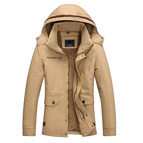 QJY Heren motorjas waterdichte ski-jas warme winter sneeuwjas berg windbreaker plus fluwelen geul jas Beige-XXXL