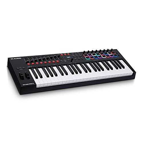 M-Audio Oxygen Pro 49 - Teclado controlador MIDI USB de 49 teclas con pads de ritmos, perillas, botones y atenuadores asignables y pack de software