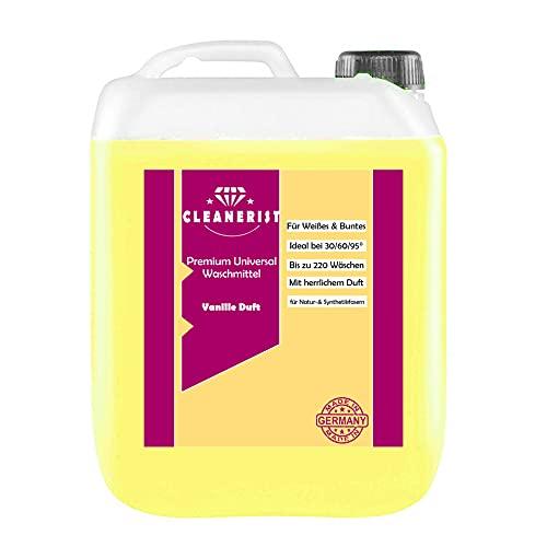 Cleanerist Flüssigwaschmittel Premium Waschmittel mit Vanille Duft | 5 Liter Vollwaschmittel Grosspackung | bis zu 110 Waschladungen color weiß schwarz