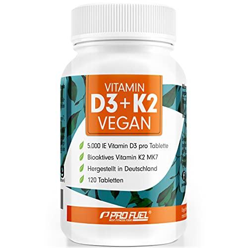 VITAMIN D3 K2 VEGAN • 5000 IE D3 + 200 mcg K2 (MK7) - 120 Tabletten mit Vitamin D3 hochdosiert aus Flechten - reicht 19 Monate - rein pflanzlich, 100% vegan, ohne unerwünschte Zusatzstoffe - ProFuel