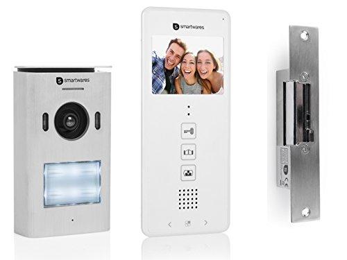 Smartwares Set de portero automático con cámara + apertura de puerta, videoportero