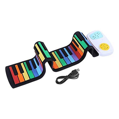 DealMux-1 49 teclas Piano enrollable portátil Teclado eléctrico flexible USB Colrful Soft Supplies Teclado Piano Regalo para niños