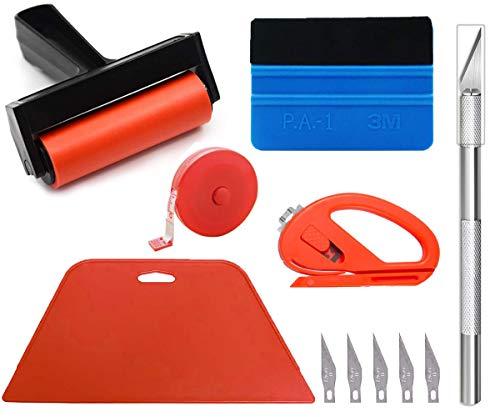 Kit de herramientas para suavizar papel tapiz con rodillo para papel tapiz, herramienta de corte, raspador duro, recortador de bordes, cinta métrica para la instalación de papel tapiz de vinilo