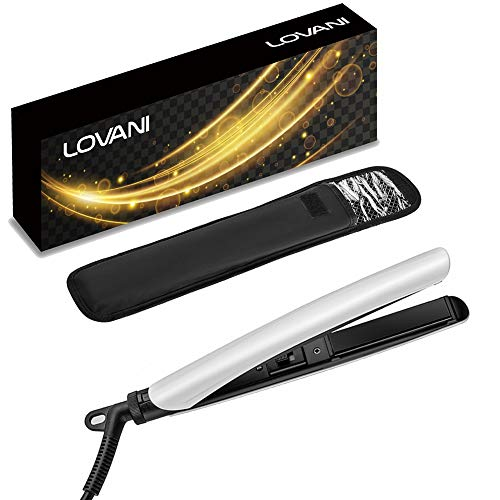 LOVANI Mini Hair Straightener,0.6 Inch Travel Flat Iron Dual Voltage Small Size Hair Iron with 3D Floating Ceramic Tourmaline Plates for Short Hair,White