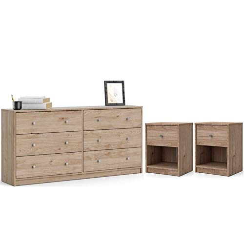 Home Square 3 Piece Bedroom Set with 6 Drawer Double Dresser, Two Nightstands in Jackson Hickory