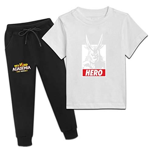 My Hero Acad-emia Boys Girls Short sleeve T-Shirt & Jogger Sweatpants cotton Summer Sweatshirt 2 Pieces Set X-Large White