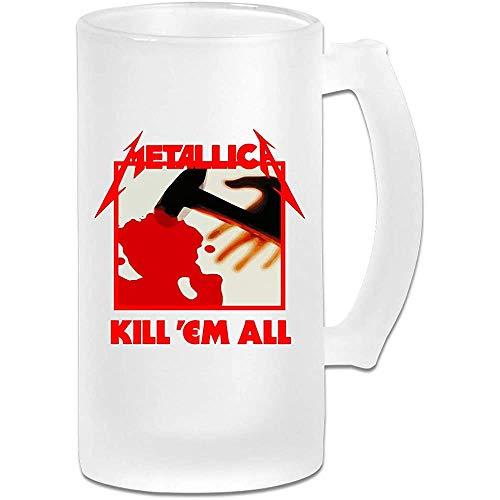 Taza de jarra de cerveza de vidrio esmerilado impresa de 16 oz - Metallica Kill Em All - Taza gráfica