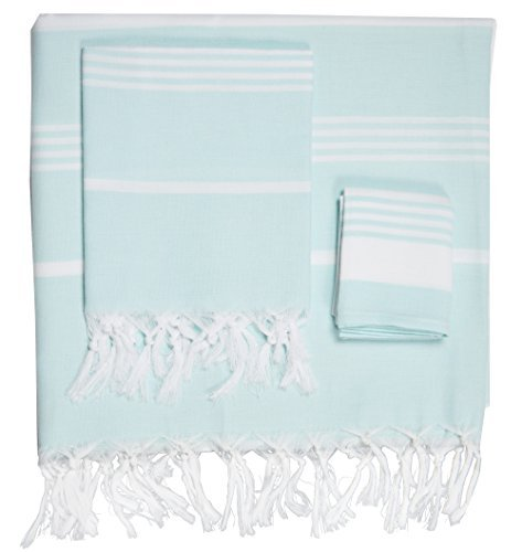 Turkish Towel Set Cotton Bath Beach Spa Sauna Hammam Yoga Gym Hamam Towel Fouta Peshtemal Pestemal Blanket (Basic Set Aqua)