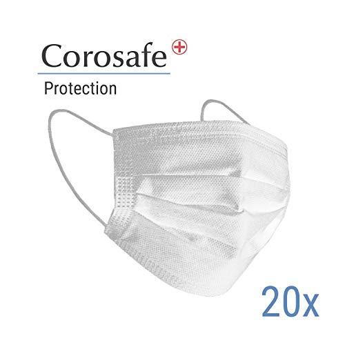 Dr. Mosers COROSAVE Einweg OP-Maske - Mundschutz | Medizinische Qualität ≥ 98% Filterleistung Typ II, 3-lagig | Atemschutz | Hygiene-Maske (20, weiß)