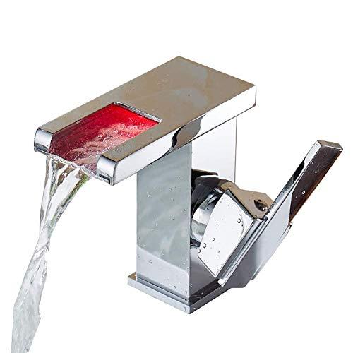 Grifo del lavabo del baño, grifo de lavabo con luz LED seleccionado con sensor de temperatura Energía hidroeléctrica Grifo monomando para lavabo Casquillo de latón (Tamaño: H12.5cm)