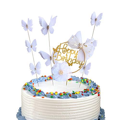 YngFfb Topper Tarta cumpleaños, 1 PCS Adorno para Tarta de Feliz CUMPLEAÑOS y 3 PCS Adornos de Mariposa para decoración de Tartas de cumpleaños