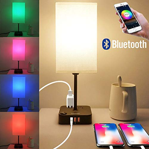 COZOO Smart RGB & USB Bedside Table Lamp with 3 USB Charging Ports and 2 Outlets Power Strip, LED Light Bulb Dimmable, Music Sync RGB Color Changing Light for Party Home/Bedroom/Nightstand/Living Room