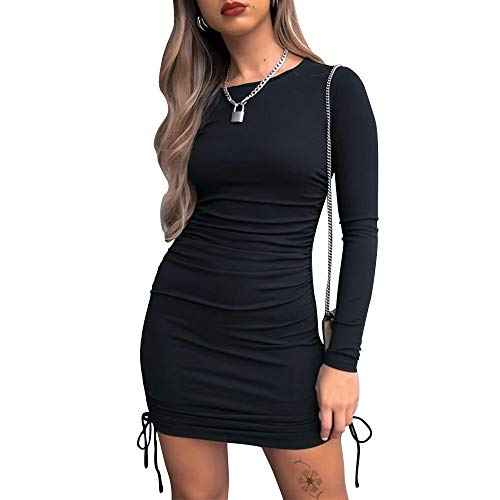 Exlura Women's Sexy Bodycon Mini Dress Ruched Long Sleeve Drawstring Club Party Mini Dresses