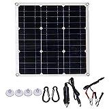 Wivarra Paneles de EnergíA Solar de 25W Paneles Solares Semiflexibles Monocristalinos de 12V de Exteriores para Generar MóDulos Fotovoltaicos