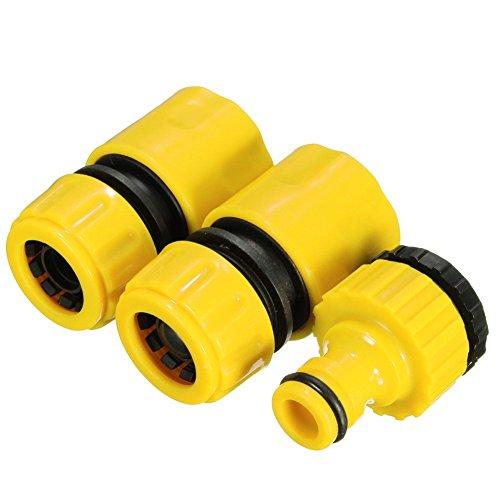 Xpccj Juego de manguera de agua para jardín de 3 piezas, 1/2 pulgada y 3/4 pulgadas, conector de manguera de agua de jardín rápido y adaptador de tapa., Amarillo, Tamaño libre
